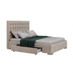 Beżowe łóżko podwójne z szufladami 140