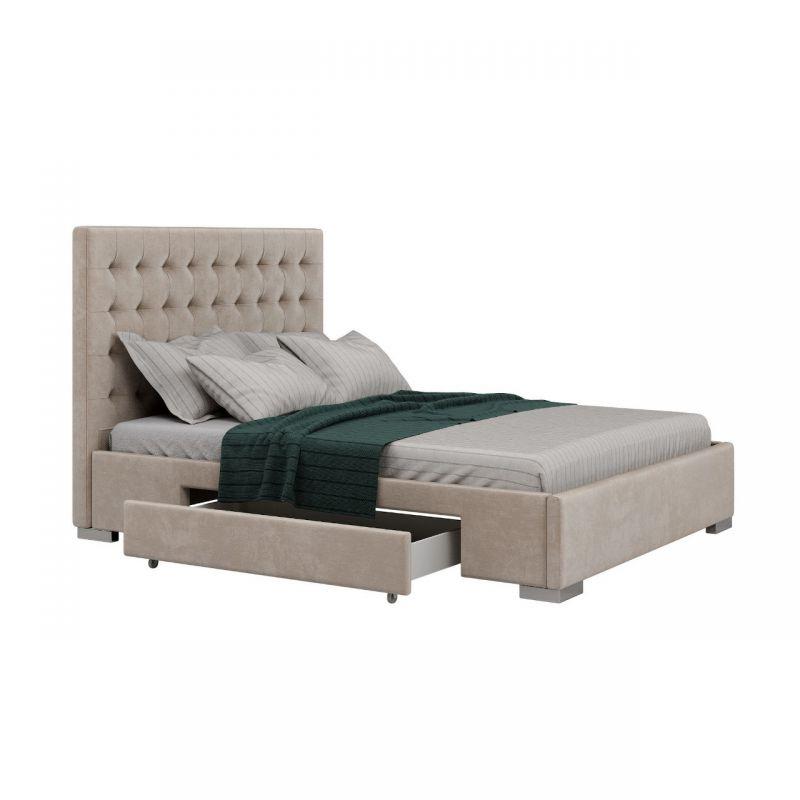 Łóżko welurowe 160x200 z szufladami i stelażem