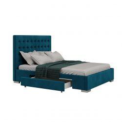 Turkusowe łóżko dwuosobowe 140x200 welurowe