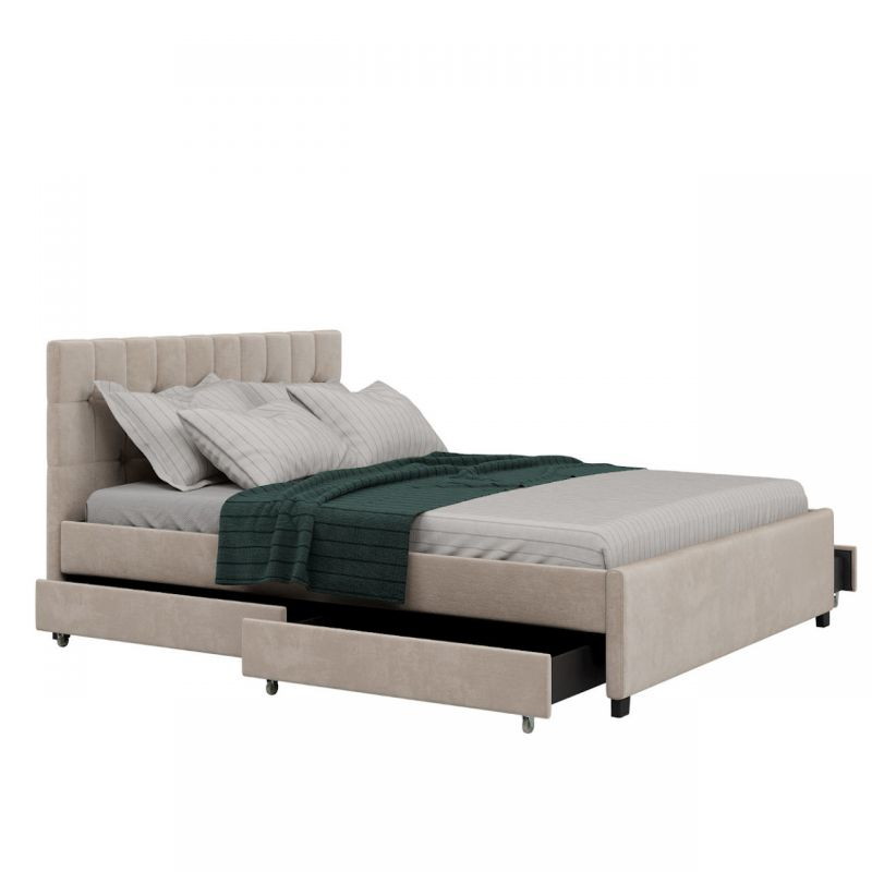 Welurowe łóżko z szufladami 140x200 beżowe
