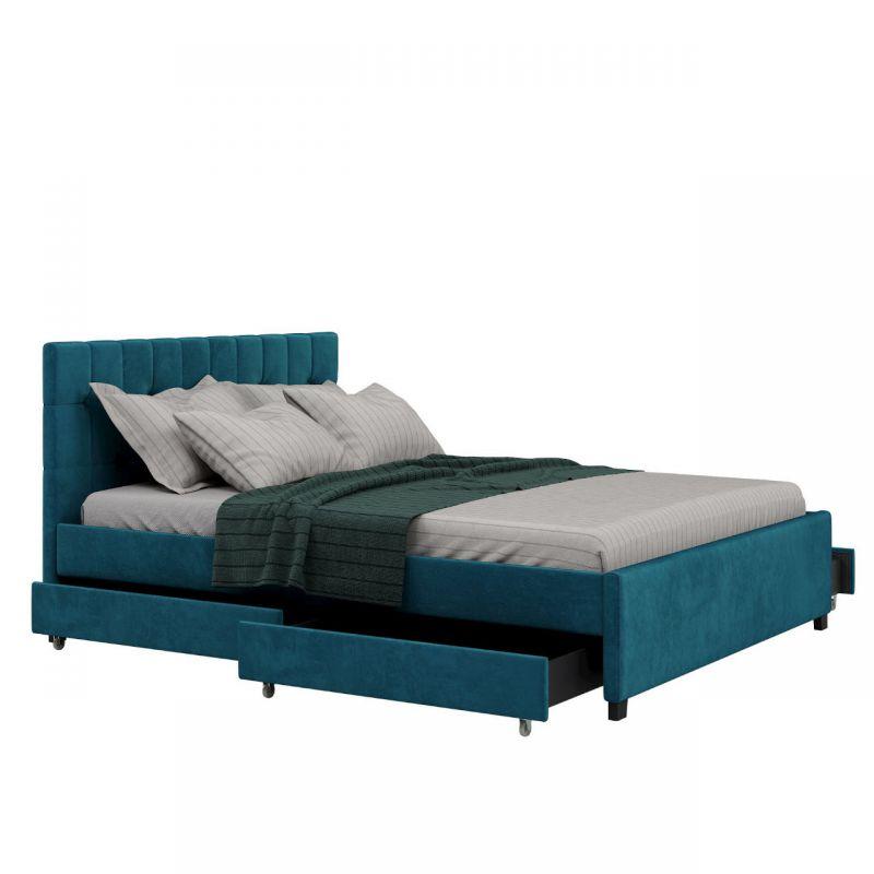 Łóżko welurowe z szufladami na pościel 140x200 morski