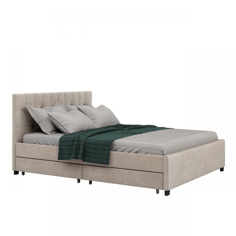 Łóżko podwójne tapicerowane welurem 180x200 z szufladami