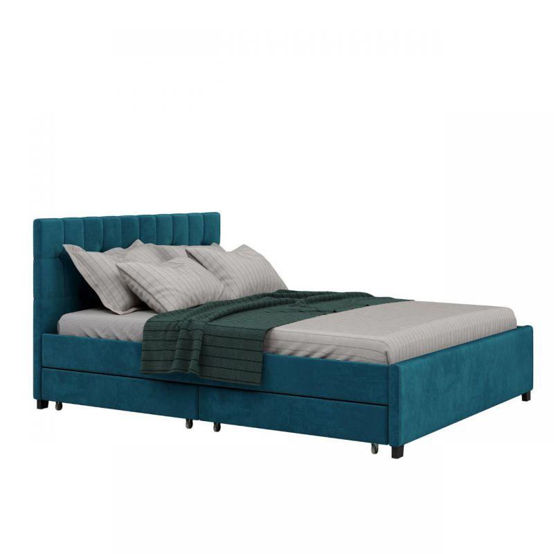 Turkusowe łóżko dwuosobowe z szufladami welur