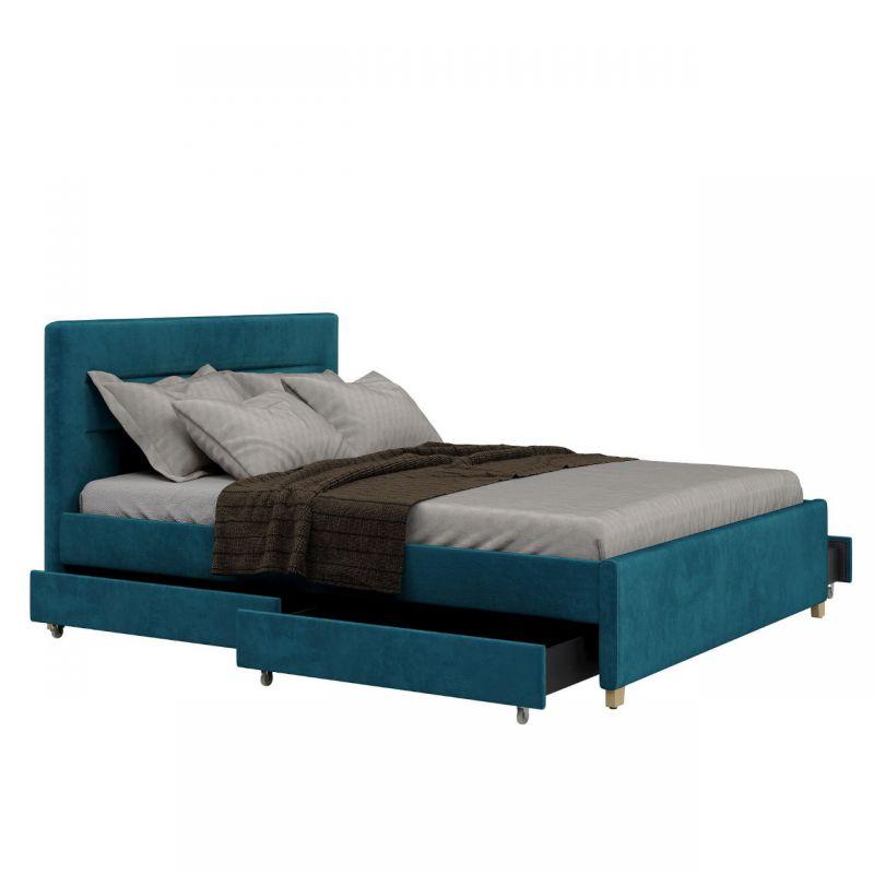 Turkusowe łóżko z szufladami tapicerowane 160 cm