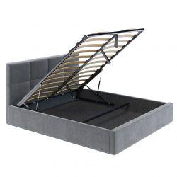 Szare łóżko welurowe ze stelażem i pojemnikiem 140