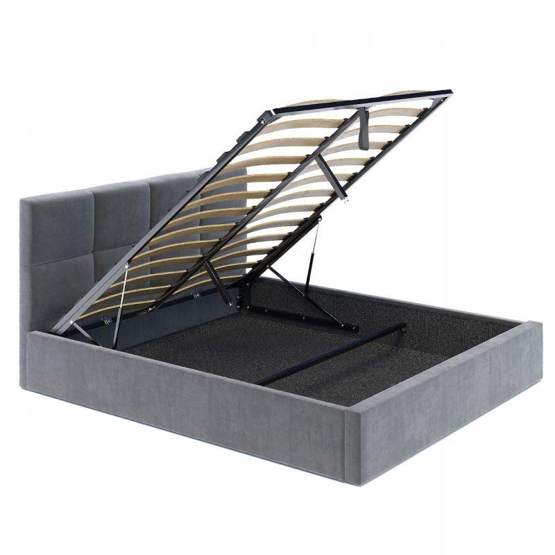 Szare łóżko z pojemnikiem, zagłówkiem i stelażem 160x200
