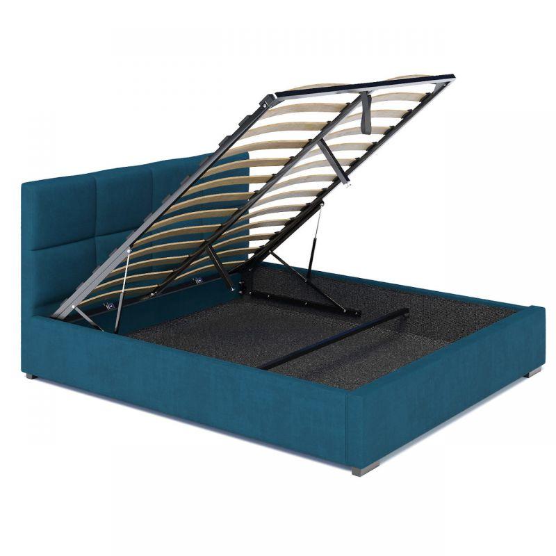Łóżko ze schowkiem, wezgłowiem i stelażem 160x200 welur