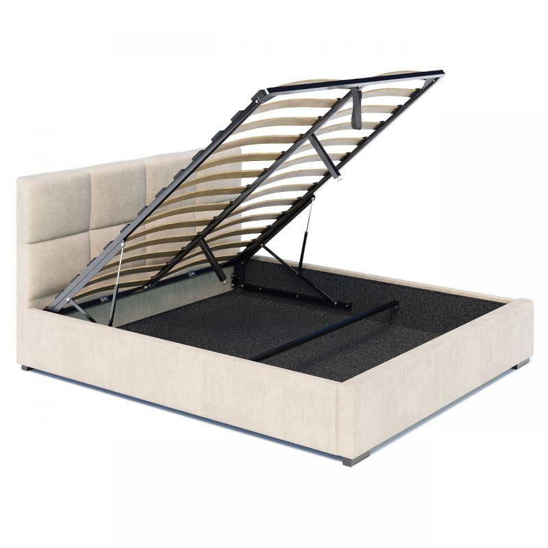 Duże łóżko z pojemnikiem welur beż 180x200