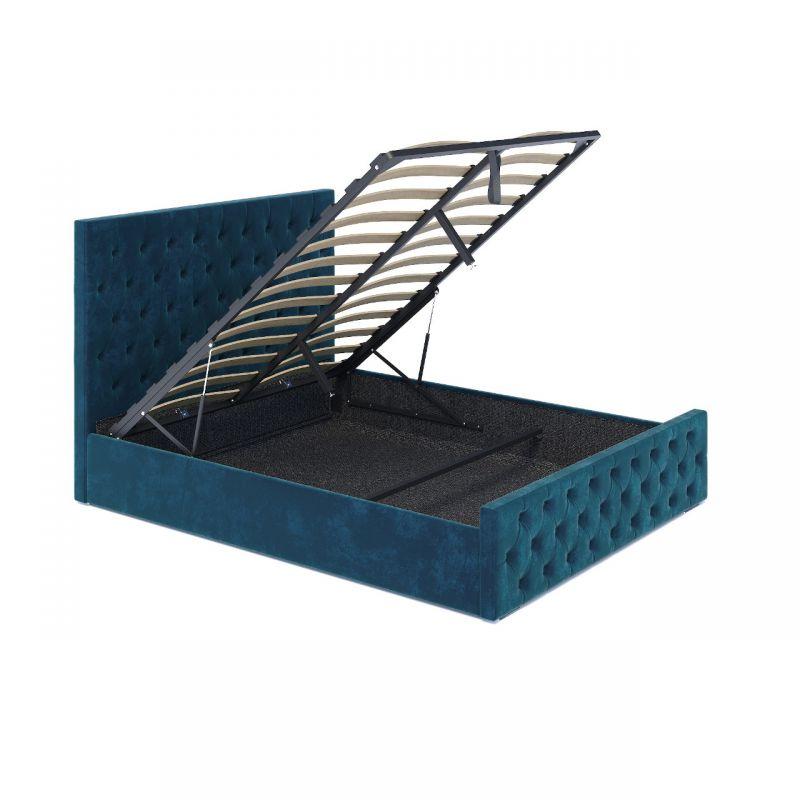 Turkusowe łóżko podwójne ze schowkiem 140x200