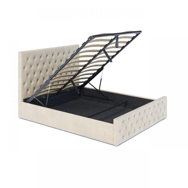 Welurowe łóżko 160 z pojemnikiem, beżowy kolor