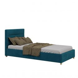Turkusowe łóżko młodzieżowe z pojemnikiem 90x200