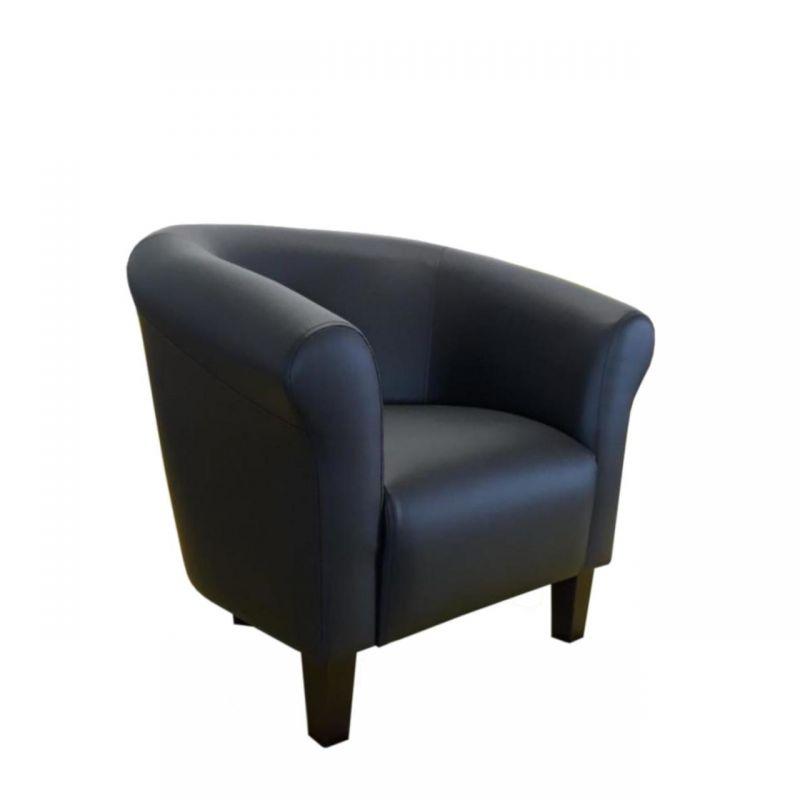 Czarny fotel kubełkowy ekoskóra
