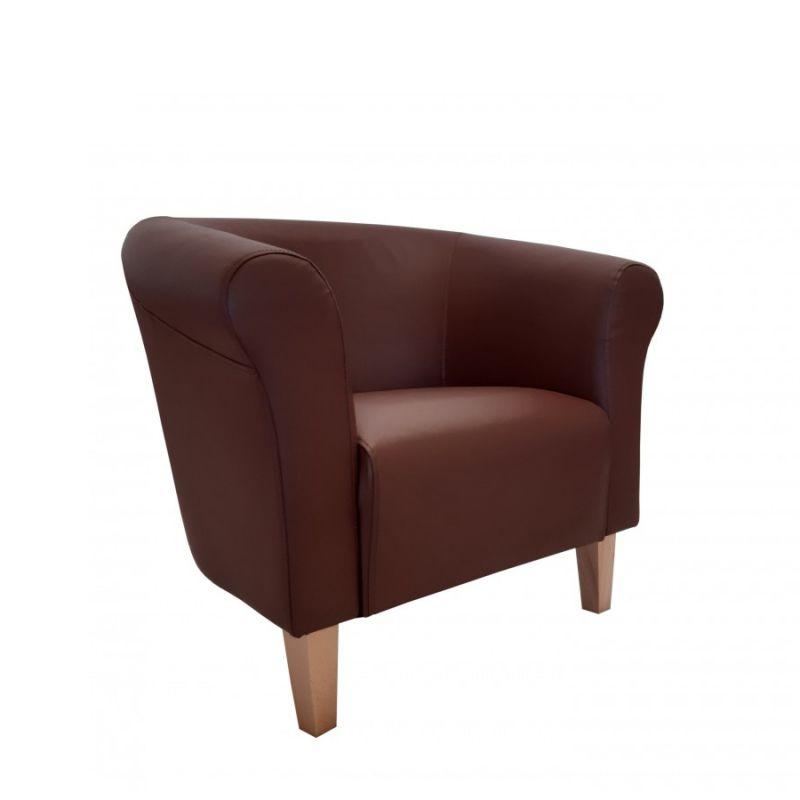 Wygodny fotel tapicerowany brązowy