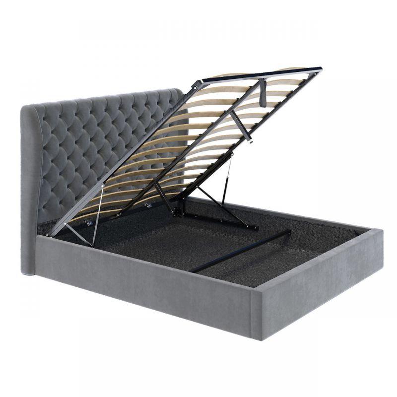 Szare łóżko welurowe 140x200 z wysokim oparciem