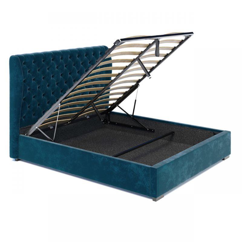 Turkusowe łóżko z wysokim tapicerowanym oparciem 140x200
