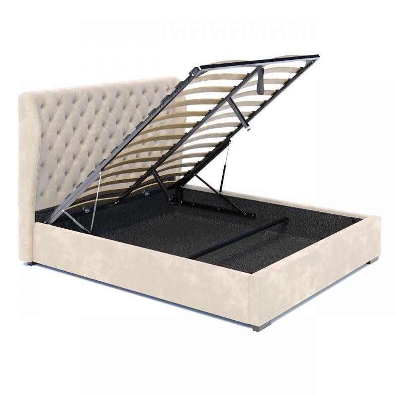 Beżowe łóżko dwuosobowe z pojemnikiem 160