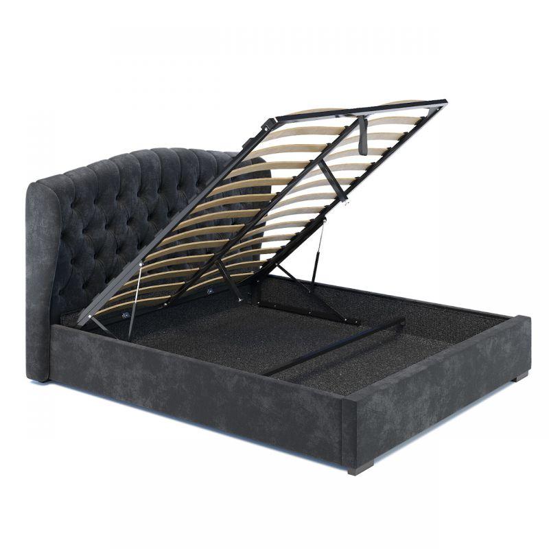 Ciemnoszare łóżko welurowe 140 tapicerowane oparcie