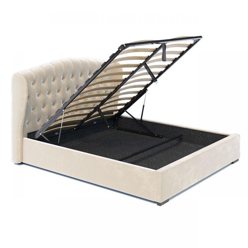 Welurowe łóżko do sypialni z pojemnikiem 140x200