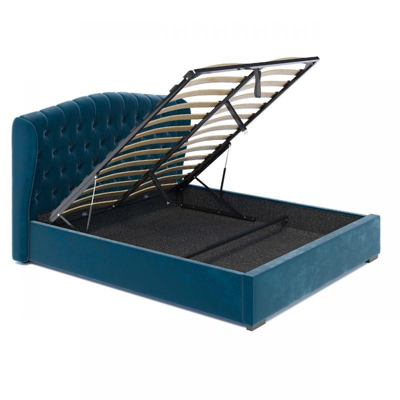 Turkusowe łóżko podwójne 140x200 z pojemnikiem