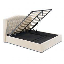 Tapicerowane łóżko ze stelażem 160x200, beż