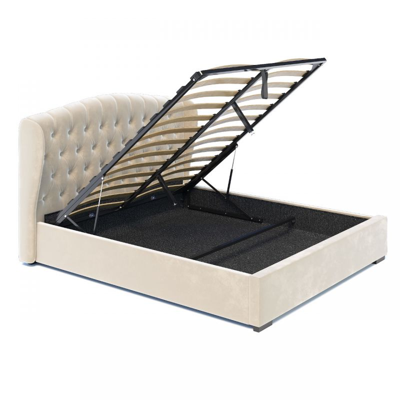 Beżowe łóżko małżeńskie 180x200 z pojemnikiem