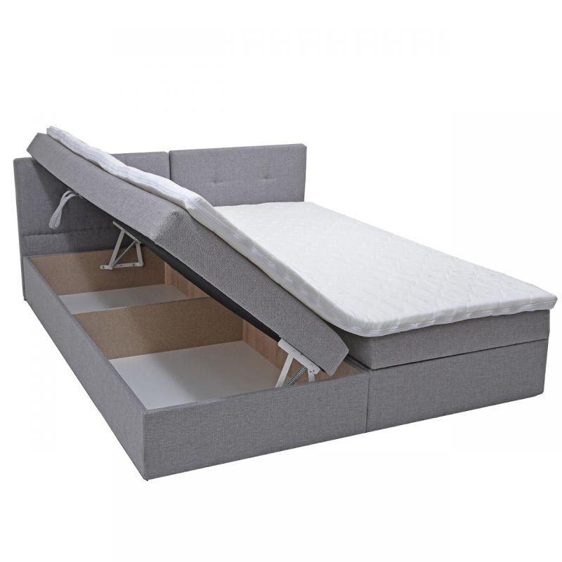 Szare dwuosobowe łóżko z materacem 160x200