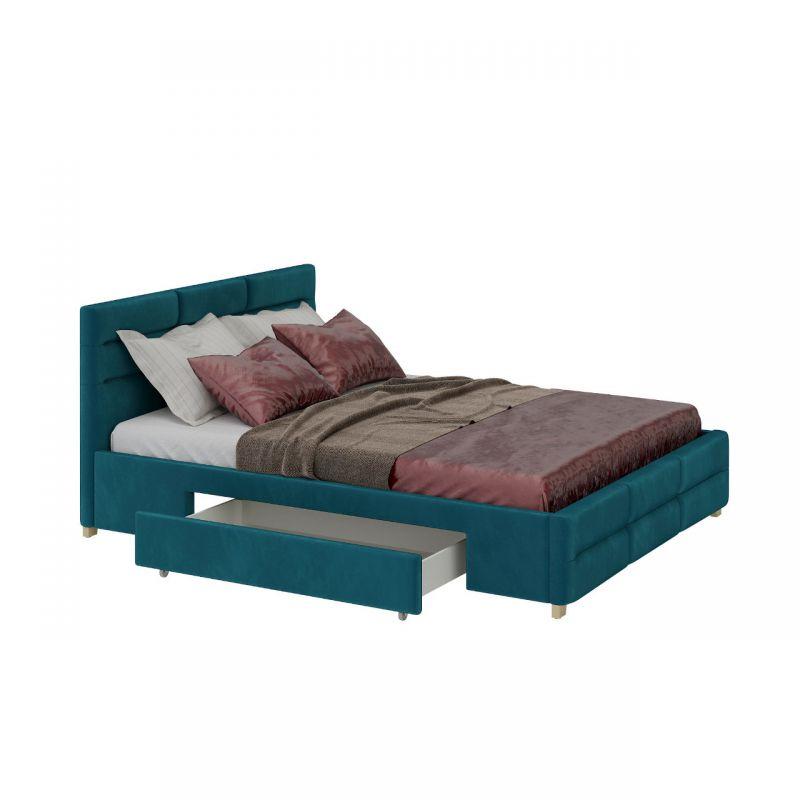 Tapicerowane łóżko z szufladami w kolorze morskim