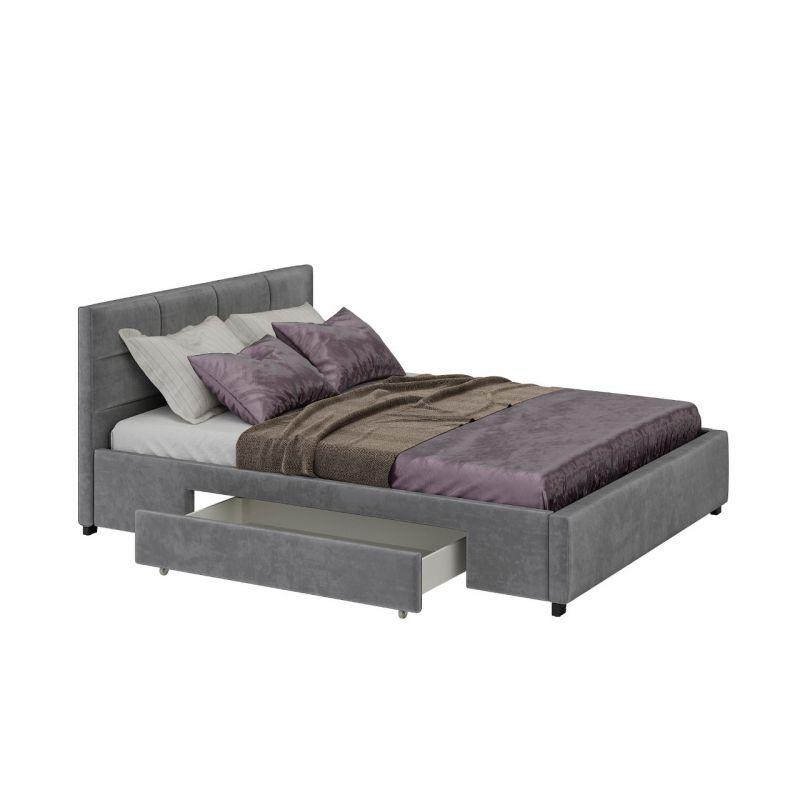 Duże łóżko małżeńskie 180x200 szare z szufladami