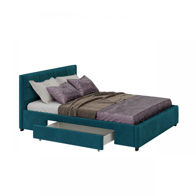Turkusowe łóżko dwuosobowe 180x200 z szufladami