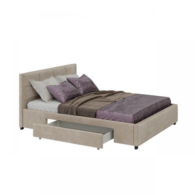 Beżowe łóżko ze stelażem i szufladami 180