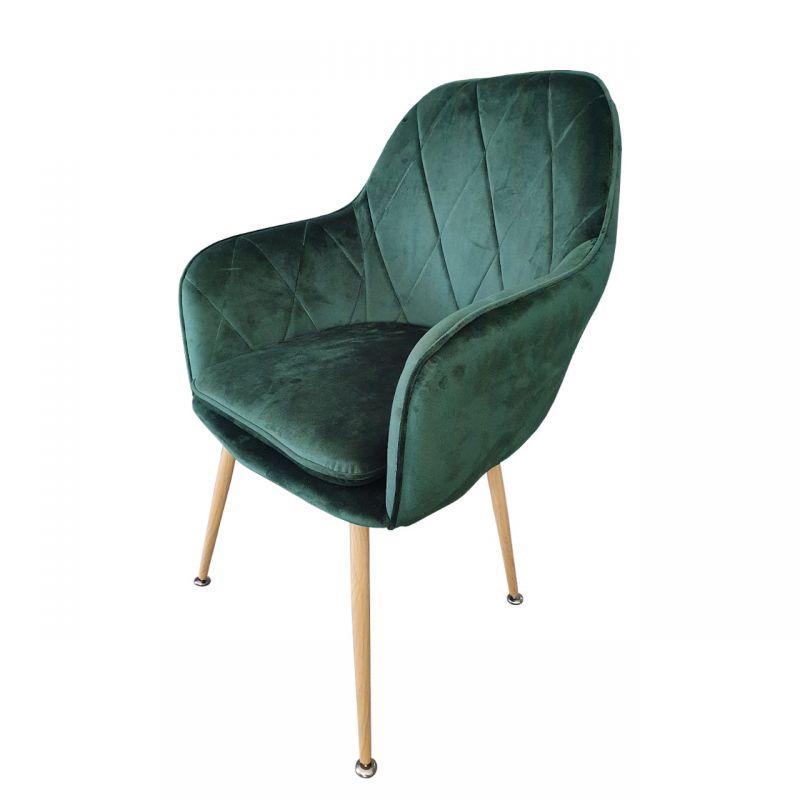 Wygodne krzesło welurowe zielony kolor