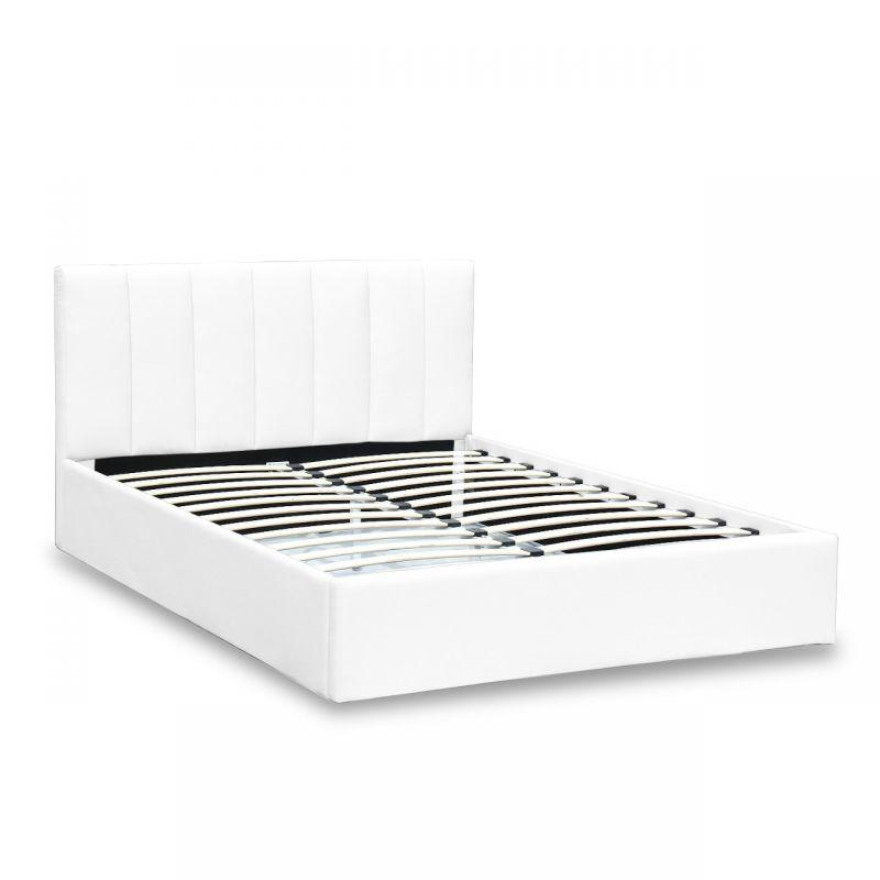 Białe łóżko tapicerowane ekoskórą 140x200