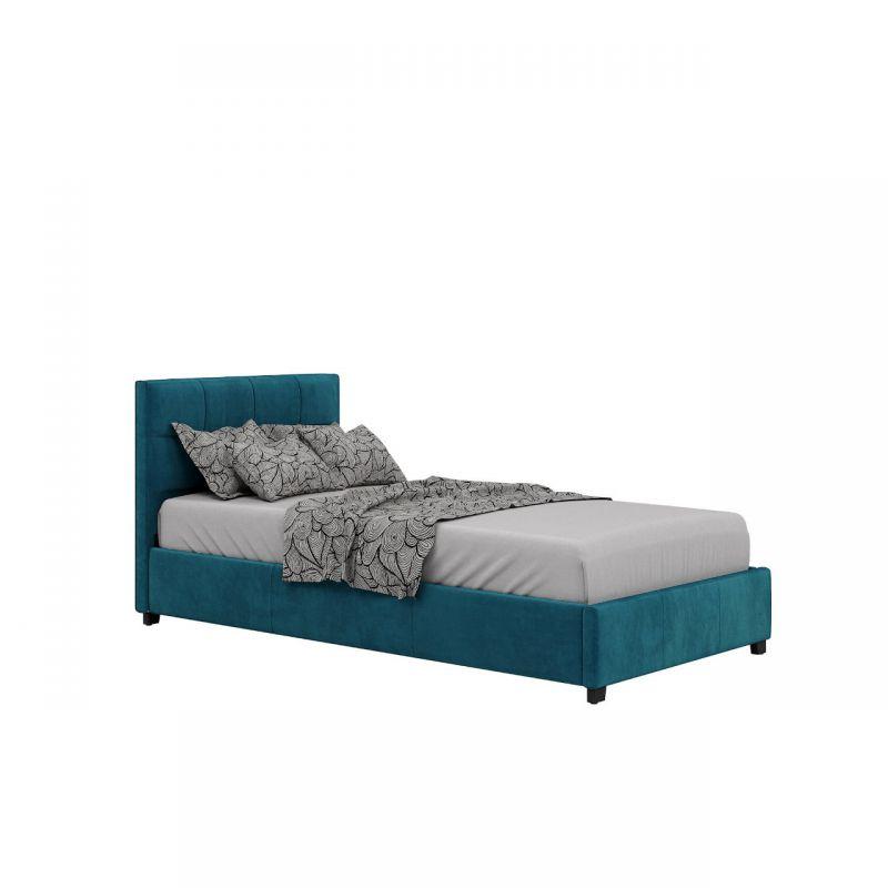 Turkusowe łóżko tapicerowane 90x200 jednoosobowe