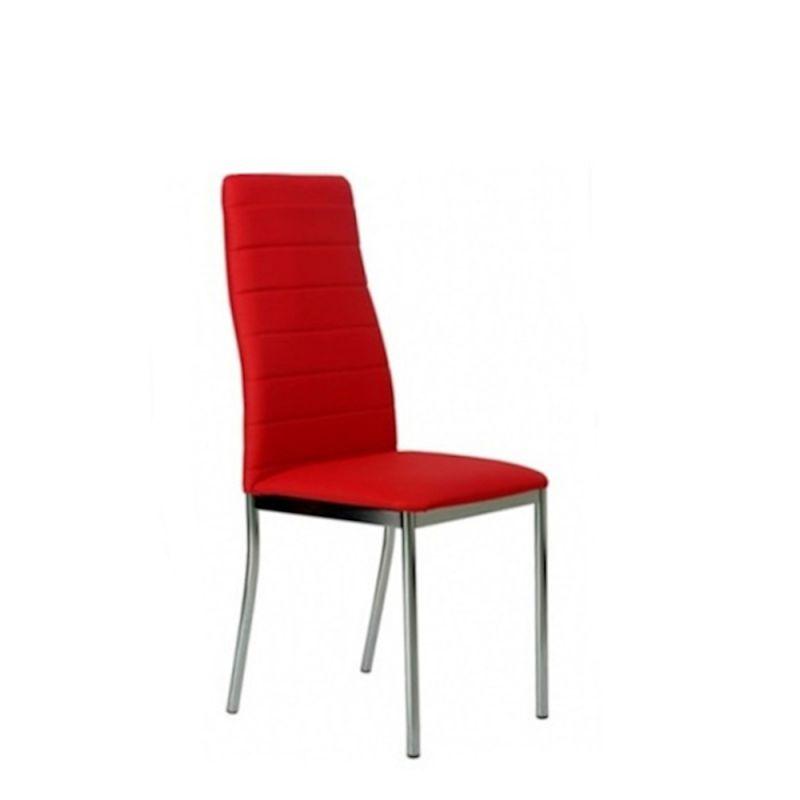 Eleganckie krzesło tapicerowane czerwoną ekoskórą