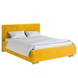 Żółte tapicerowane łóżko ze skrzynią 140 cm