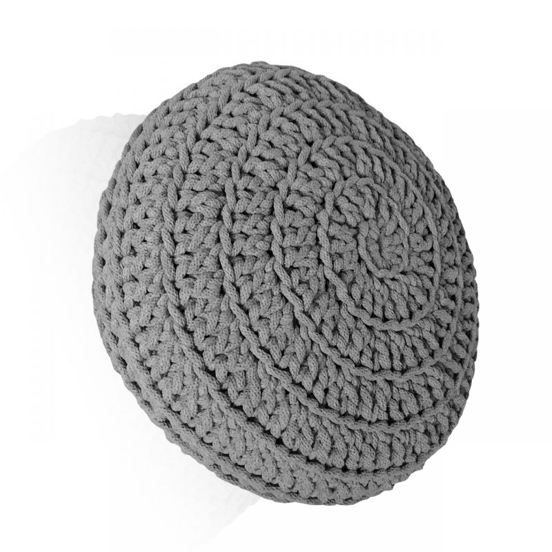 Poduszka pleciona ze sznurka okrągła szara