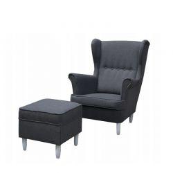 Duży fotel uszak z podnóżkiem