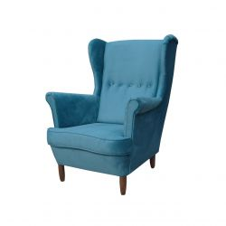 Plamoodporny fotel uszak turkusowy kolor
