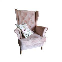 Fotel uszak z pikowanym oparciem różowy
