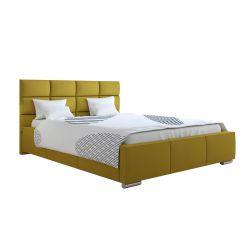 Łóżko tapicerowane ze stelażem 120 cm musztardowe