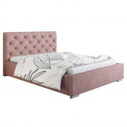Stylowe łóżko tapicerowane 180/200 różowe