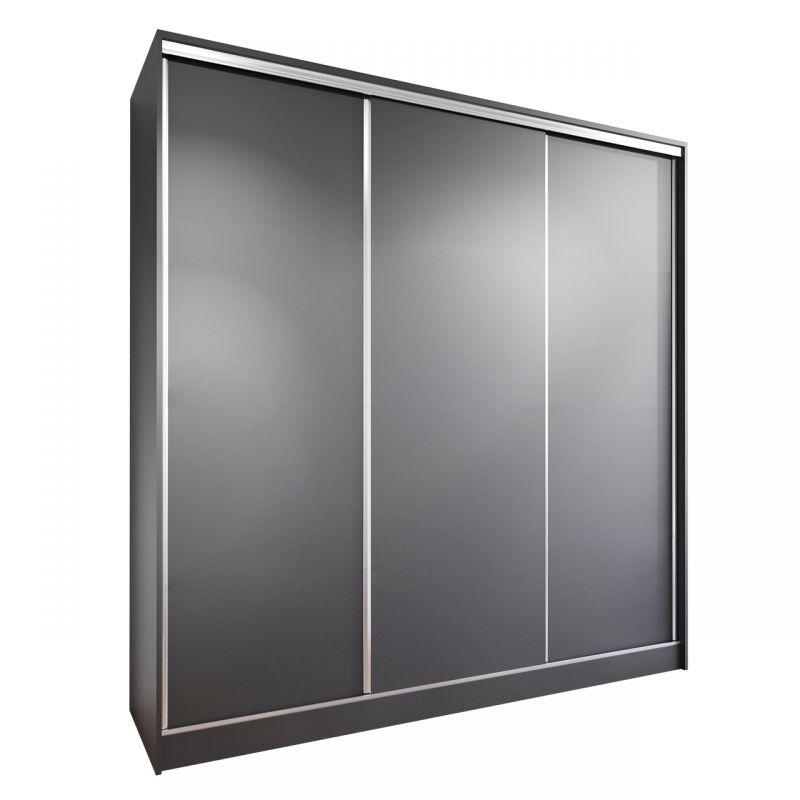 Czarna szafa 200 cm drzwi przesuwne