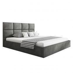 Ciemnoszare podwójne łóżko z pojemnikiem