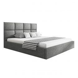 Łóżko 160 x 200 cm z pojemnikiem szare