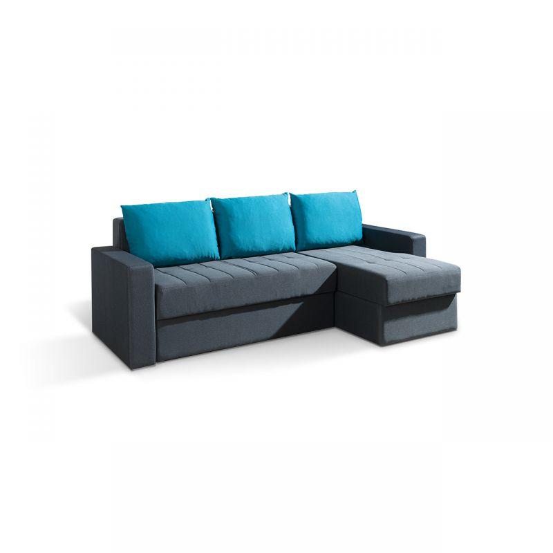 Szara kanapa narożna z dużymi poduszkami