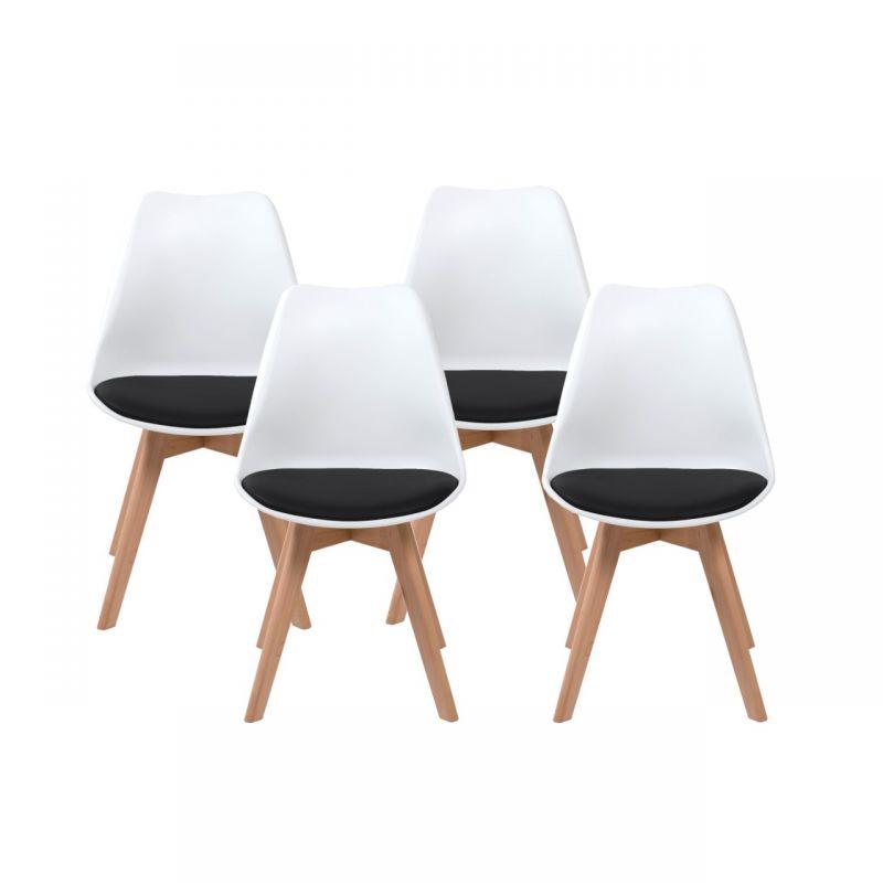 Zestaw 4 białych krzeseł styl skandynawski do kuchni