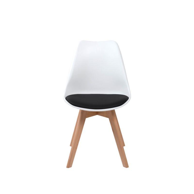Białe krzesło z czarną poduszką z ekoskóry