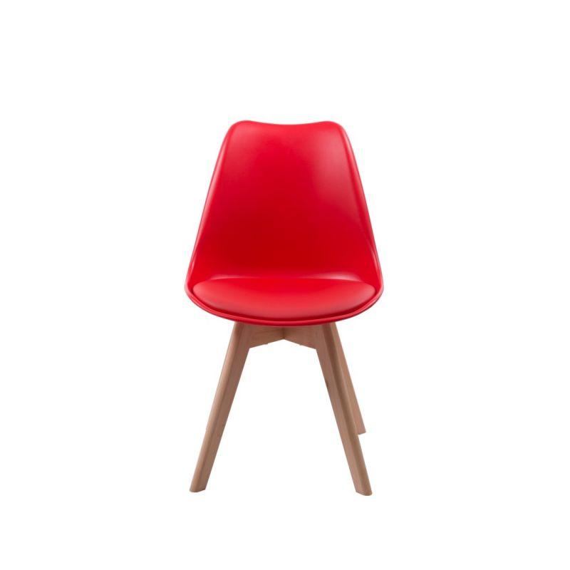 Czerwone krzesło z poduszką z ekoskóry styl skandynawski