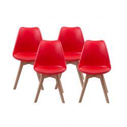 Czerwone krzesła - zestaw 4 szt. styl skandynawski