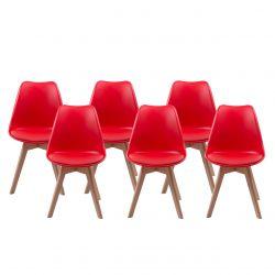 Skandynawskie krzesła - zestaw 6 szt. czerwony kolor
